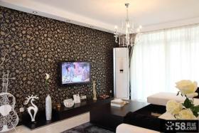 现代家装壁纸电视墙效果图