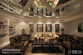 别墅客厅镜面天花板造型设计