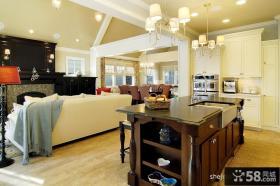 美式风格开放式厨房吊顶装修设计