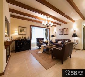 美式客厅有梁吊顶装修效果图片