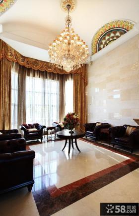 丽滩别墅豪华欧式风格客厅装修效果图大全2014图片