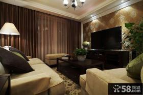 美式风格客厅电视背景墙壁纸图片