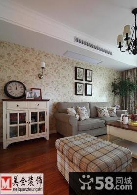 欧式客厅沙发背景墙壁纸效果图