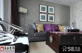 客厅沙发墙面壁纸背景墙设计效果图