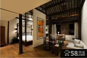 50平米中式风格小户型客厅隔断装修效果图大全2014图片