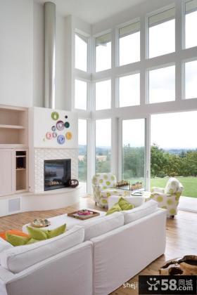 彩白现代别墅室内客厅门窗设计