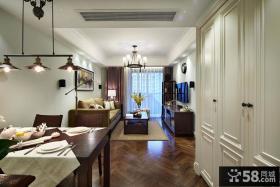 美式风格家装餐厅与客厅吊顶图片大全