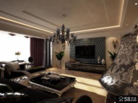 长春紫玉华府的三居室客厅吊顶样板房设计