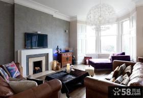 美式设计客厅飘窗效果图
