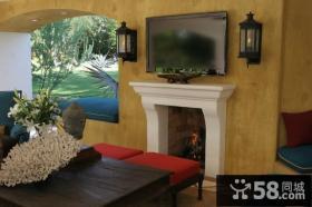 东南亚风格客厅电视背景墙装修设计