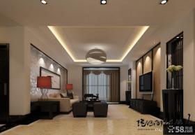 挑高复式客厅石膏吊顶设计