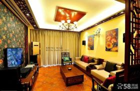 中式风格装修客厅吊顶效果图大全