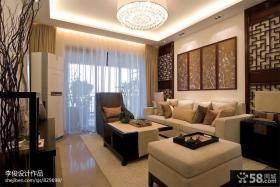 中式风格客厅布艺沙发背景墙设计图片大全