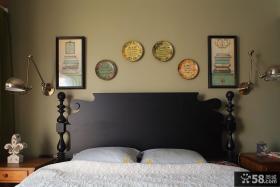 美式乡村风格卧室床头背景墙图片