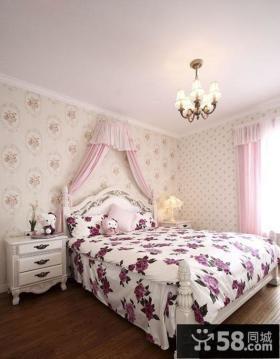 欧式田园风格卧室壁纸装修效果图大全