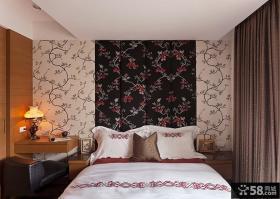 家居中式卧室田园墙纸图片