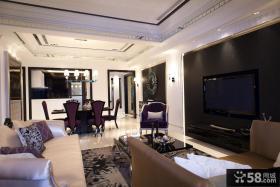 现代简欧客厅电视机背景墙装修效果图