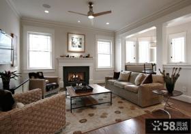 灰色调的随意美式风格家装客厅效果图