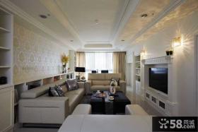简欧现代客厅装修电视背景墙