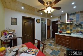 美式乡村风格家装砖砌橱柜厨房间效果图