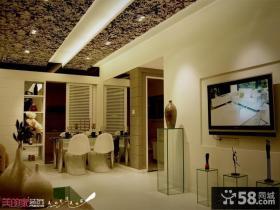 现代家装客厅餐厅一体吊顶效果图