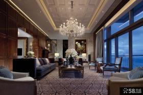 别墅客厅水晶灯大吊顶造型设计