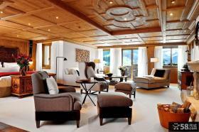 别墅客厅生态木吊顶效果图