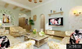 美式乡村田园客厅电视墙装修效果图