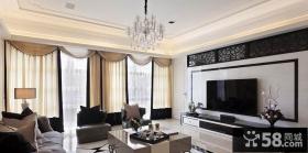 欧式二居客厅瓷砖电视背景墙装修效果图