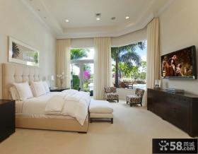 简约设计室内卧室窗帘图片