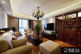 中式家居设计客厅电视背景墙