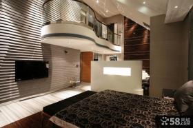 现代别墅卧室电视背景墙效果图