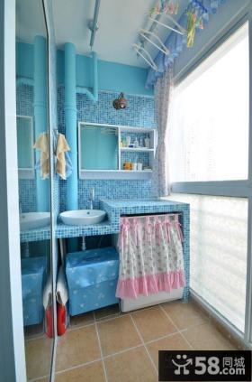 客厅阳台蓝色马赛克瓷砖效果图