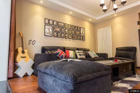 现代美式沙发背景墙效果图