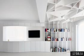现代简约客厅影视墙兼书房设计