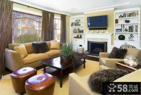 80平米小户型客厅电视背景墙装修效果图欣赏