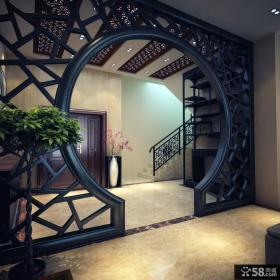 新中式客厅玄关隔断装修效果图