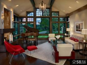美式风格豪华客厅窗户图片大全