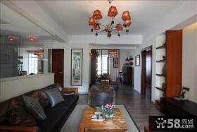 中式简约风格客厅吊灯装修效果图
