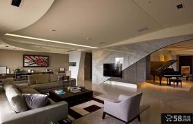 现代豪华复式客厅电视背景墙装修效果图欣赏