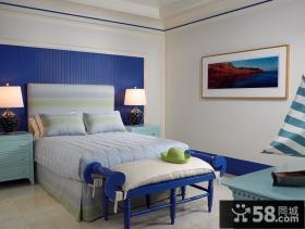 蓝色清新的地中海风格装修效果图客厅背景墙图片