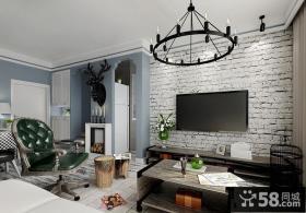 现代简约客厅电视背景墙墙纸效果图