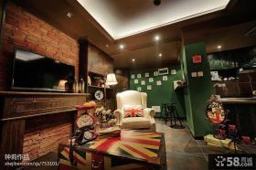 小客厅仿古砖电视背景墙效果图