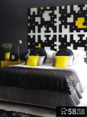 现代主卧室背景墙效果图