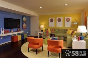 后现代客厅电视背景墙装修效果图