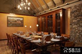 别墅餐厅实木酒柜效果图大全