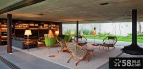 美式乡村别墅客厅装修效果图大全2014图片