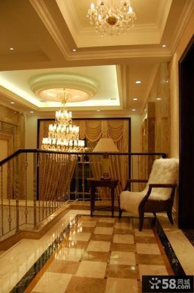 走廊吊顶过道地面米黄大理石贴图