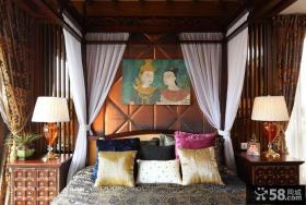 别墅卧室床头背景墙装饰画效果图