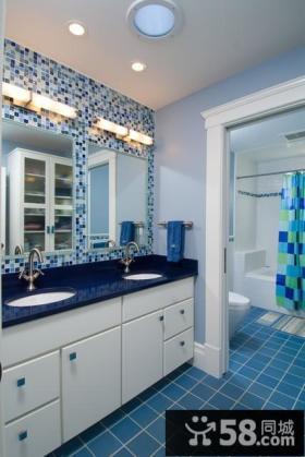 地中海风格卫生间蓝色瓷砖装修效果图